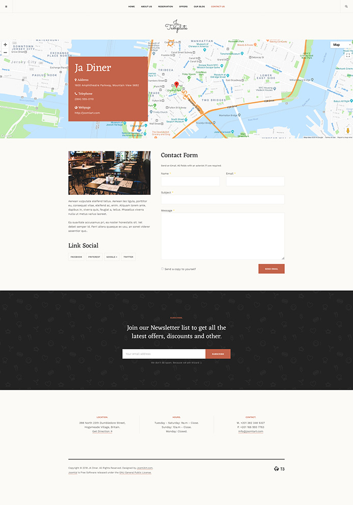 Restaurant joomla template contact page JA Diner