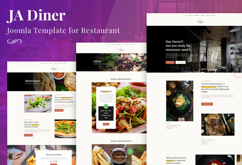 Review | Features : JA Diner Joomla template for restaurant, pub and cafe