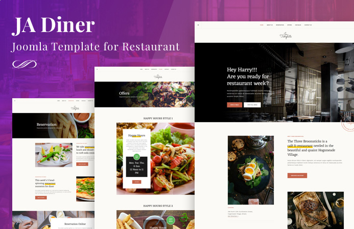 JA Diner Restaurant Joomla template and Gavick Stora eCommerce Joomla template preview