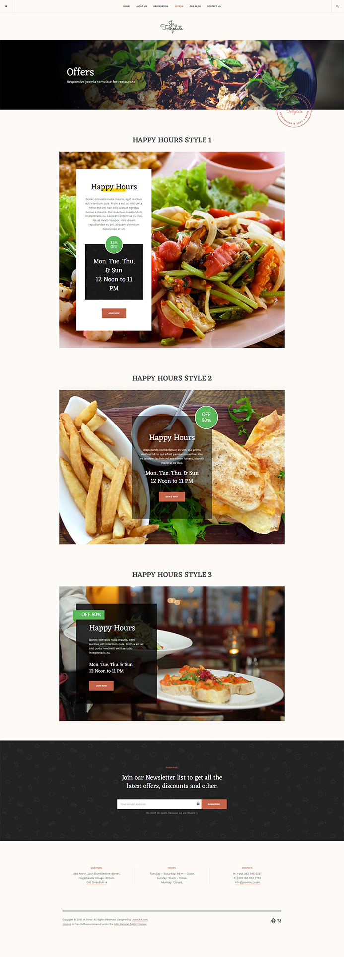 Restaurant joomla template offer page JA Diner