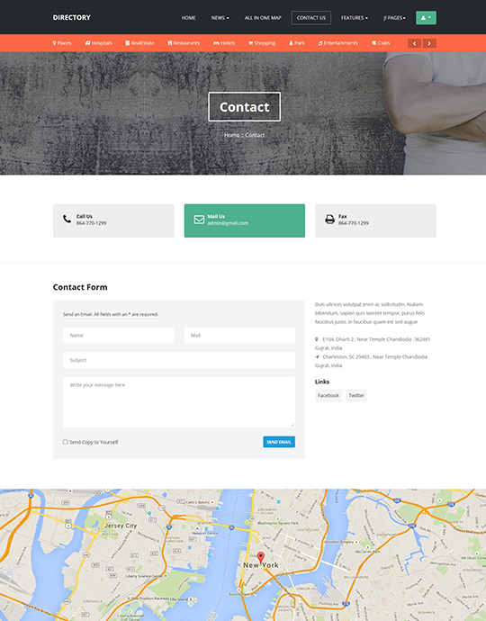 contact page of JA Directory Joomla template