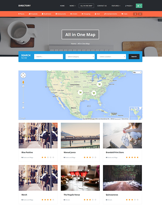 Directory location of JA Directory Joomla template for directory websites