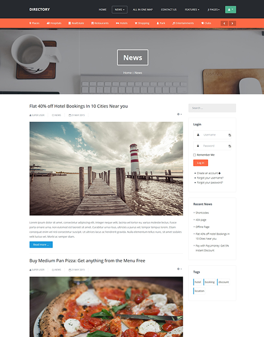 News page of Joomla template for directory website - JA Directory