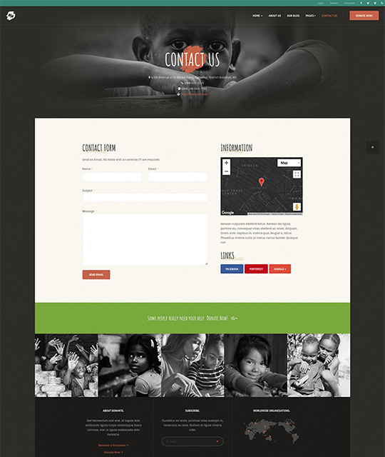 donation Joomla template contact page - JA Donate