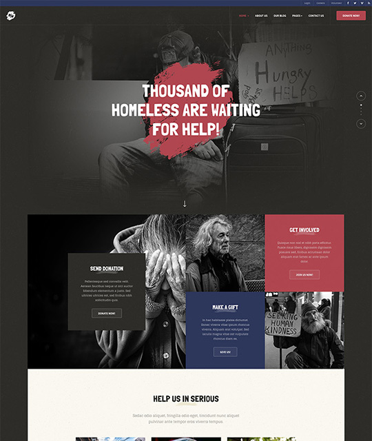 Joomla theme for charity red theme - JA Donate