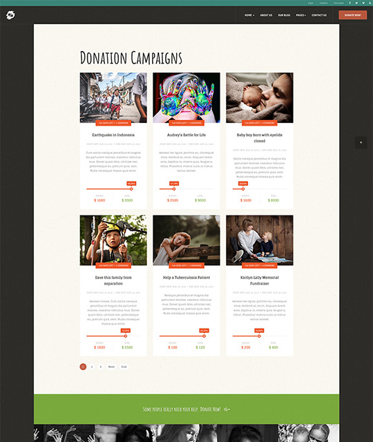 Donation campaigns list Joomla template - JA Donate