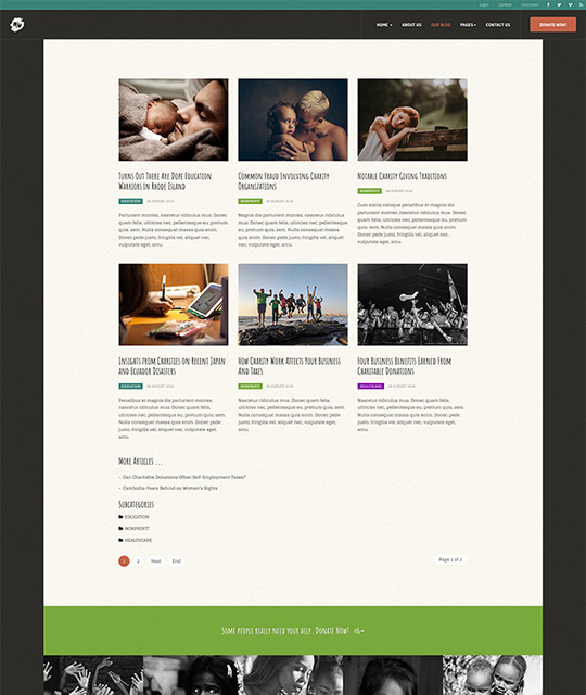 charity Joomla template blog page - JA Donate