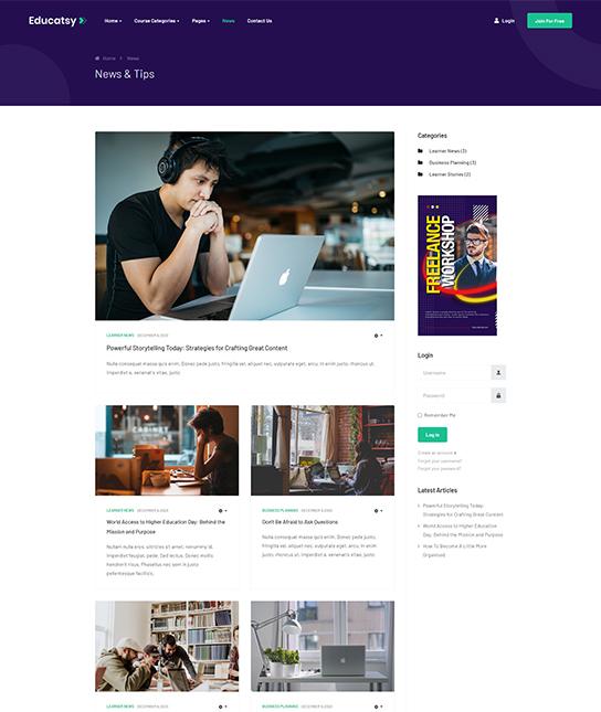 Joomla education news template - JA Educatsy