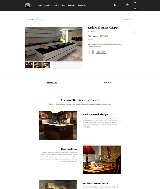 Interior Design Decor Furniture Shop Joomla Template furniture product shop layout - JA Elicyon