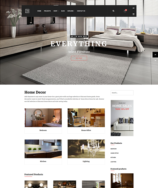 Interior Design Decor Furniture Shop Joomla Template home decor list layout - JA Elicyon