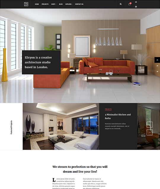 Interior Design Decor Furniture Shop Joomla Template homepage - JA Elicyon