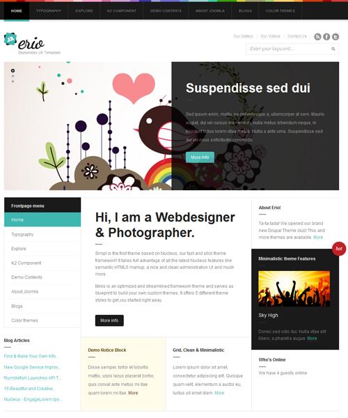 blog-portfolio Joomla template - JA Erio cyan theme