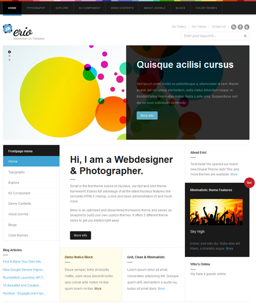 blog-portfolio Joomla template - JA Erio default layout