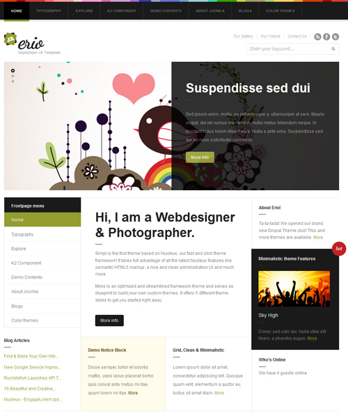 blog-portfolio Joomla template - JA Erio green theme