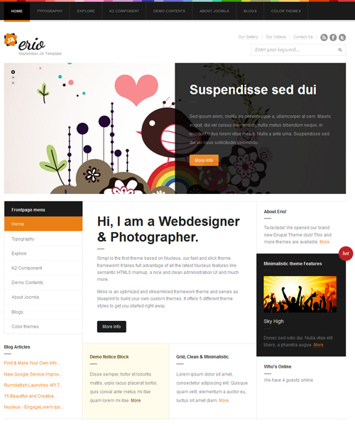 blog-portfolio Joomla template - JA Erio orange theme