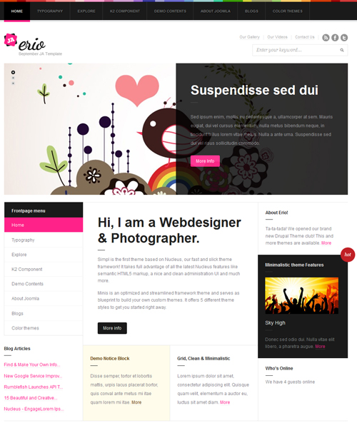 blog-portfolio Joomla template - JA Erio pink theme