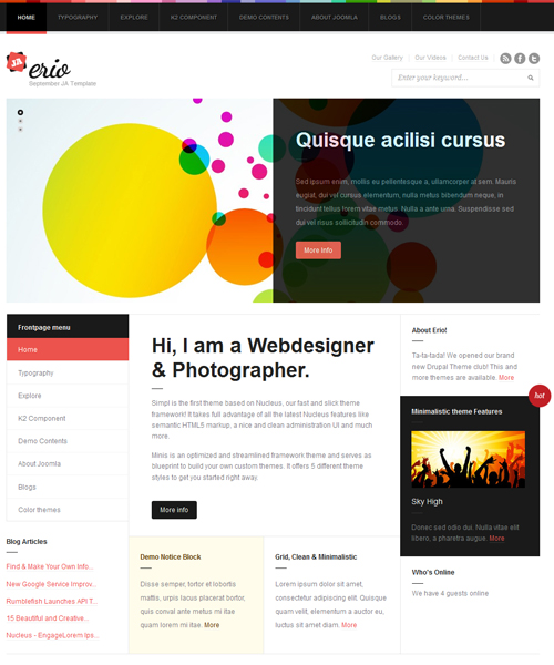 blog-portfolio Joomla template - JA Erio red theme
