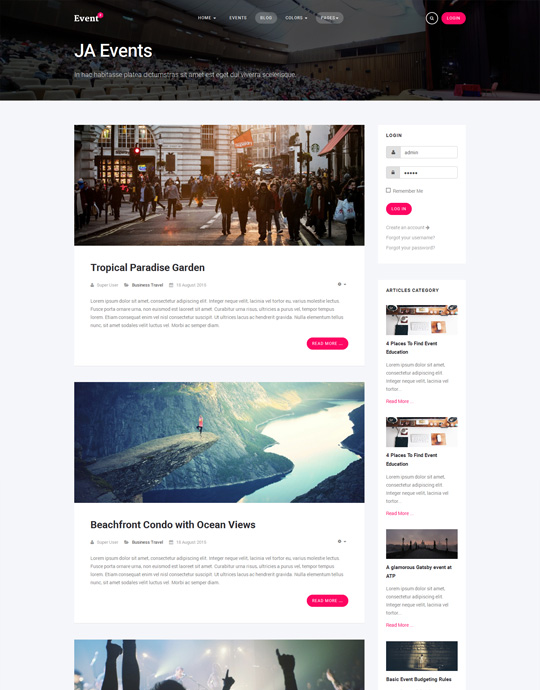 blog page of events Joomla template - JA Events II