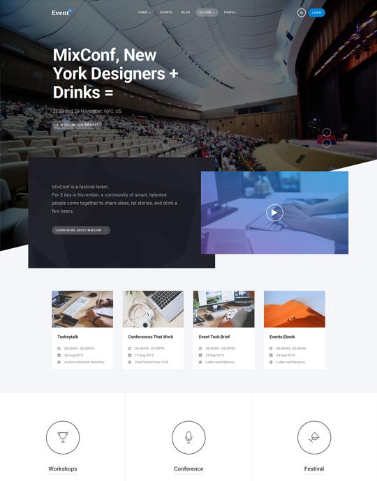 Joomla events booking template blue theme - JA Events II