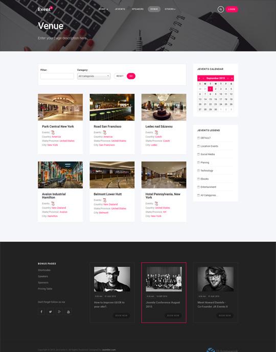 JA Events II Joomla events template vanue page