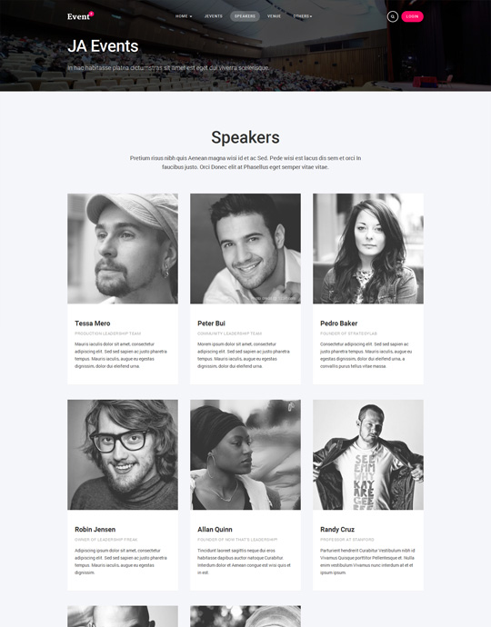Joomla events template speaker page - JA Events II