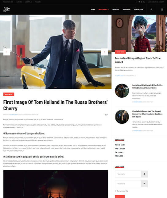 Joomla template for movie news - JA Flix