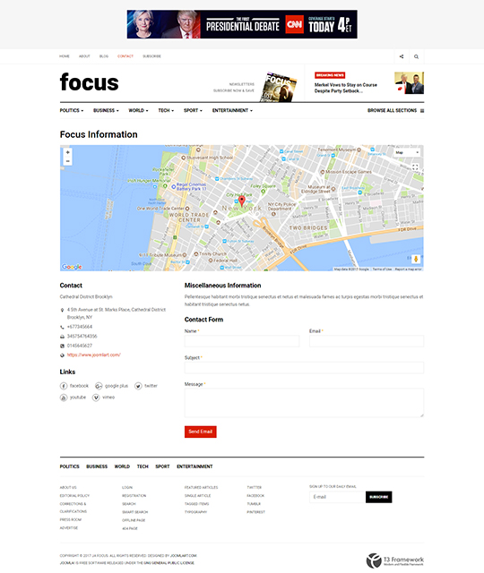 News magazine Joomla Template contact us layout - JA Focus
