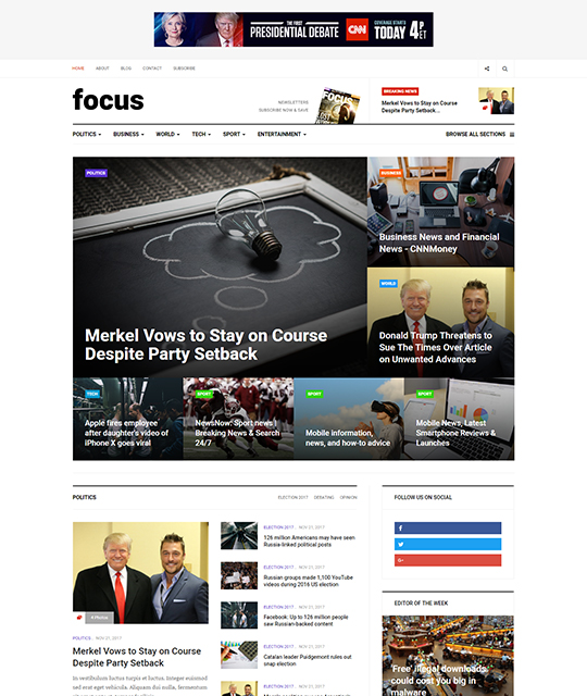 News magazine Joomla Template homepage layout - JA Focus