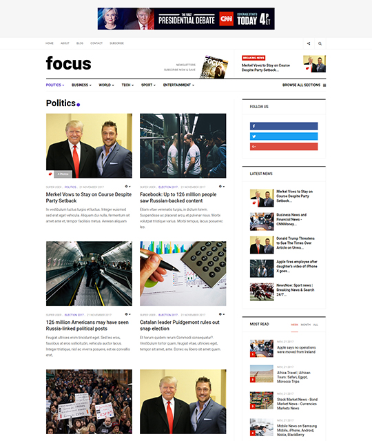 News magazine Joomla Template news category layout - JA Focus