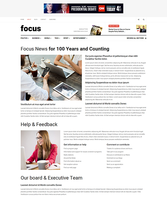 News magazine Joomla Template news article layout - JA Focus