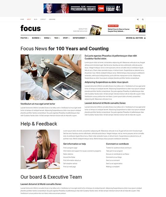 News magazine Joomla Template news article layout - JA Focus
