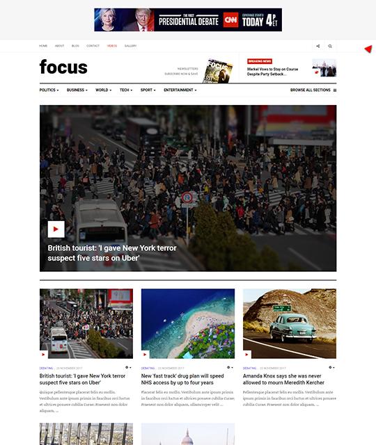 News magazine Joomla Template news layout - JA Focus