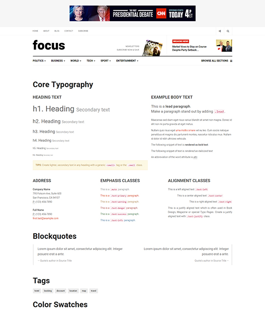 News magazine Joomla Template typography page - JA Focus
