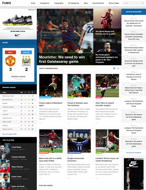 Sports news joomla template - JA Fubix