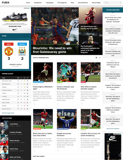 Sports news joomla template - JA Fubix