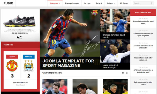 JA Fubix - Sports News Joomla template