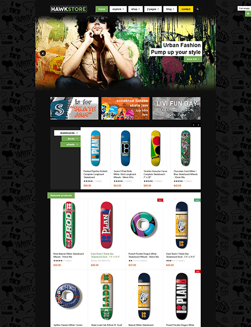 eCommerce joomla template green color theme- JA Hawkstore