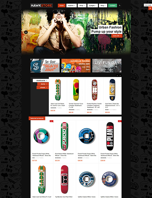 eCommerce joomla templat red color theme - JA Hawkstore