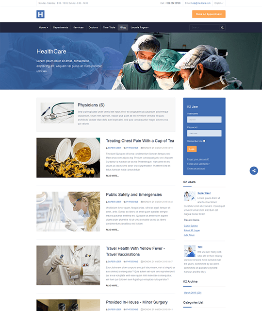 Medical Healthcare Hospital Joomla Template homepage blog layout - JA Healthcare