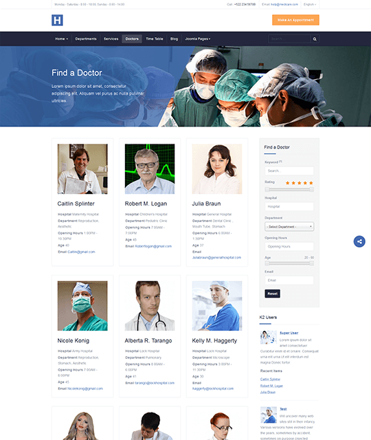 Medical Healthcare Hospital Joomla Template doctor directory layout - JA Healthcare