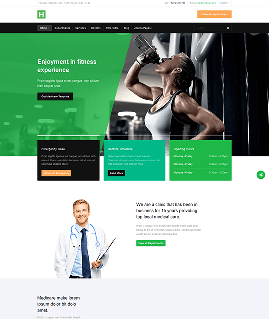 Medical Healthcare Hospital Joomla Template fitness clinic - JA Healthcare