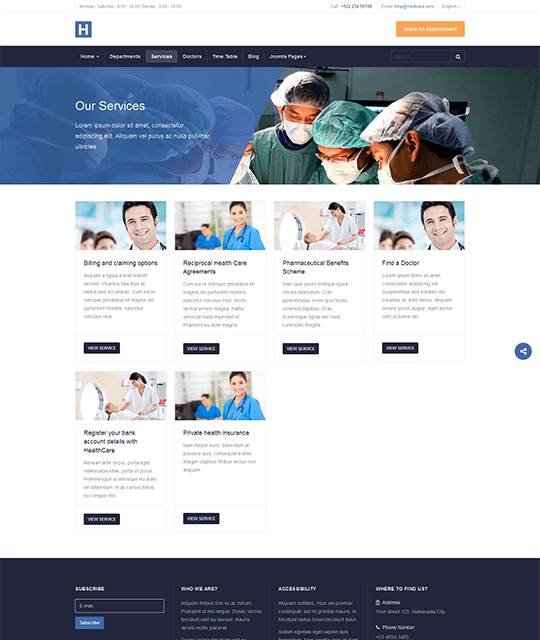 Medical Healthcare Hospital Joomla Template services list page - JA Healthcare