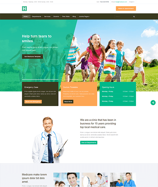 Medical Healthcare Hospital Joomla Template for children - JA Healthcare