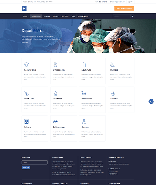Medical Healthcare Hospital Joomla Template departments - JA Healthcare