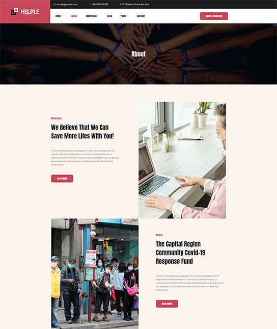 NGO about page Joomla template - JA Helple