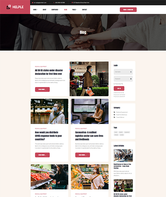 Donation blog Joomla template - JA Helple