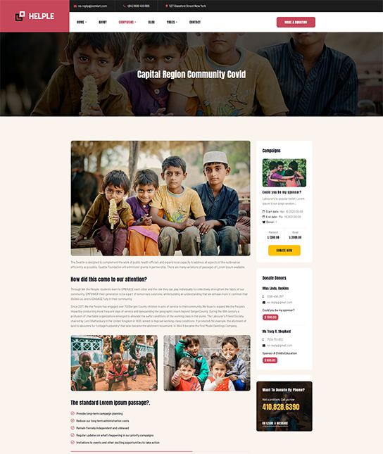 Donation Joomla template - JA Helple