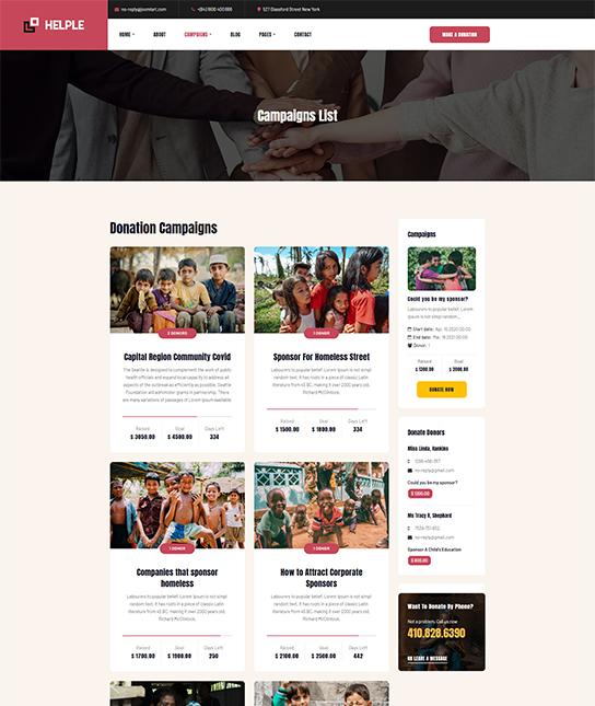 Joomla donation campaign template - JA Helple