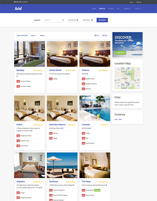 Hotel booking Joomla template - JA Hotel
