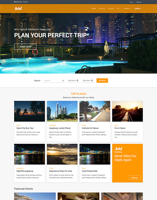 Joomla template for hotel and travel website - JA Hotel